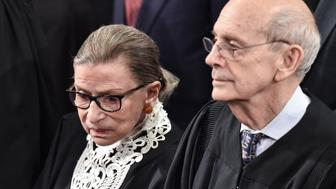 US Supreme Court justices Ruth Bader Ginsburg (L) and Stephen Breyer attend the State of the Union address at the US Capitol in Washington, DC, on January 12, 2016. Obama gives his final State of the Union address, perhaps the last opportunity of his presidency to sway a national audience and frame the 2016 election.    / AFP / NICHOLAS KAMM        (Photo credit should read NICHOLAS KAMM/AFP/Getty Images)