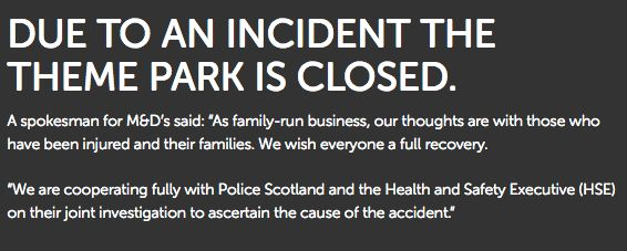 A statement posted to the website of M&D's theme park.