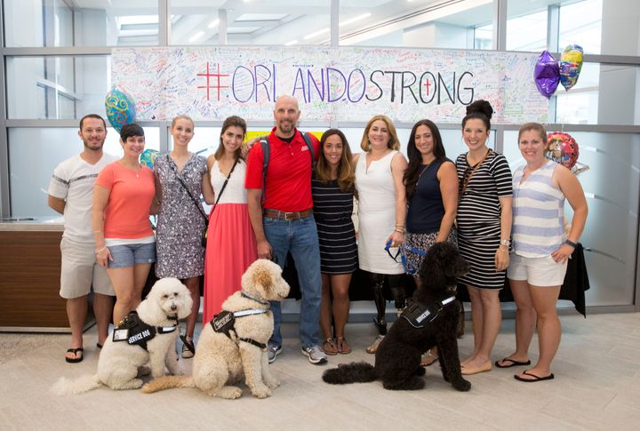 Boston Marathon bombing survivors who visited the Orlando shooting victims.
