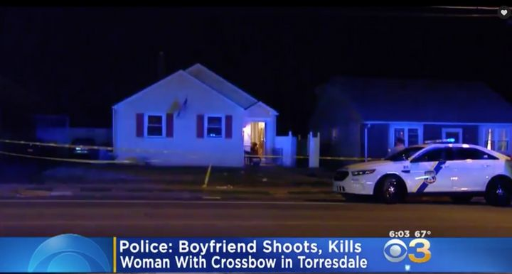 Police say a man fatally shot his wife with a crossbow at thisnortheast Philadelphia home on Sunday night.