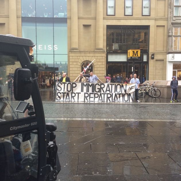Protesters in Newcastle called for immigration to 'stop' and repatriation to 'start' following Friday's...