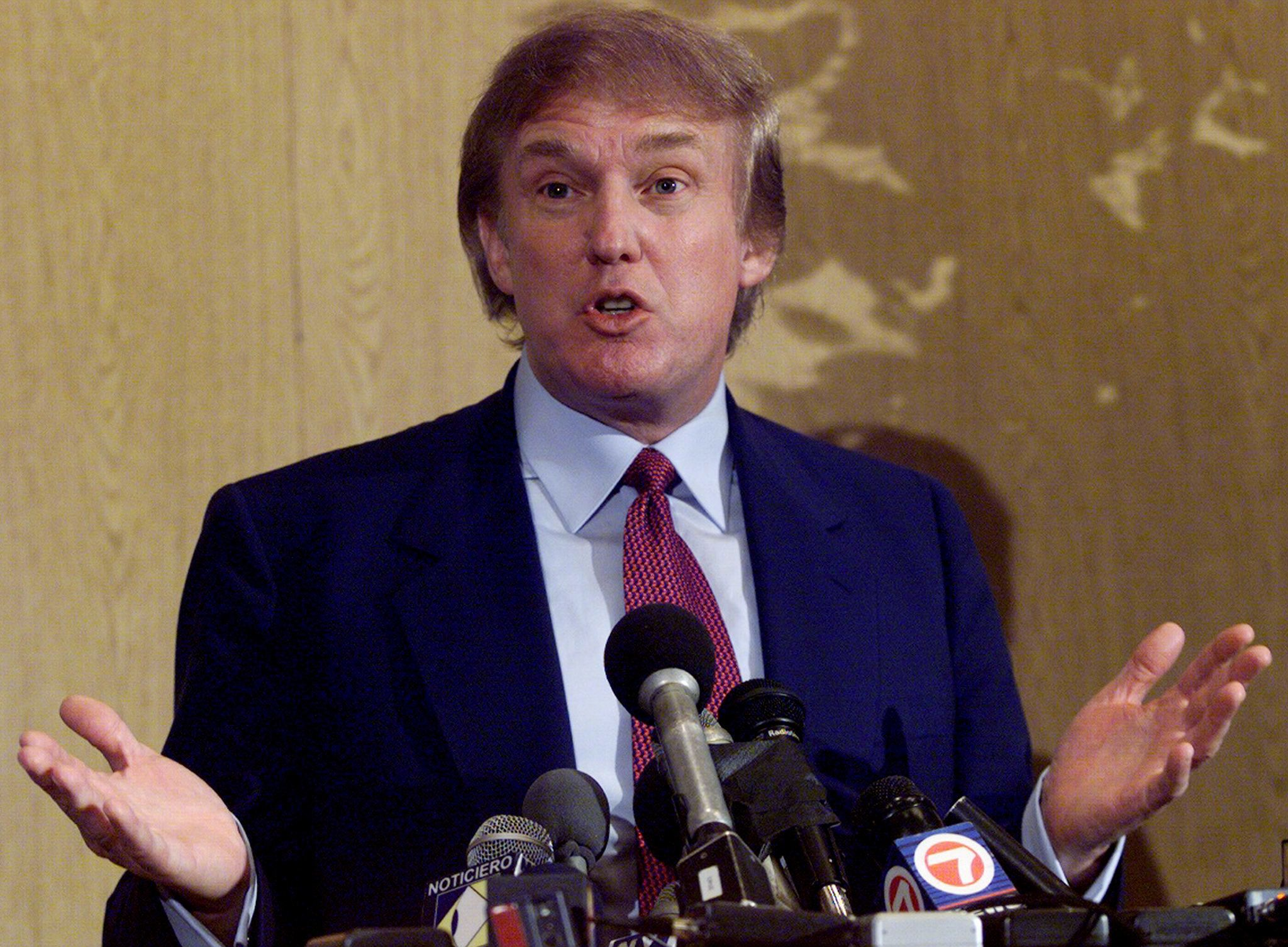 UNITED STATES - NOVEMBER 15:  Donald Trump speaks at news conference in a Miami hotel. Trump was on a trip to explore the possibility of running for the presidency as Reform Party candidate.  (Photo by Harry Hamburg/NY Daily News Archive via Getty Images)