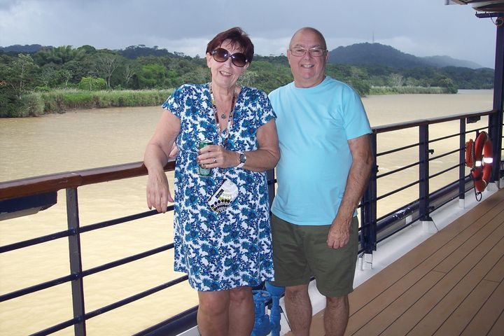 Carol and Willie Lanclos on one of their four cruises where Willie received dialysis on-board.