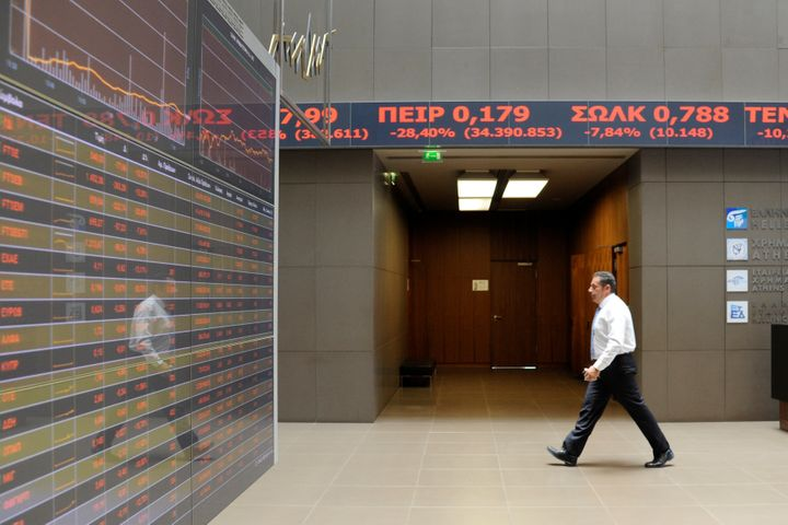 The Athens stock exchange plunged immediatelyafter news broke that Britain had voted to leave the European Union.