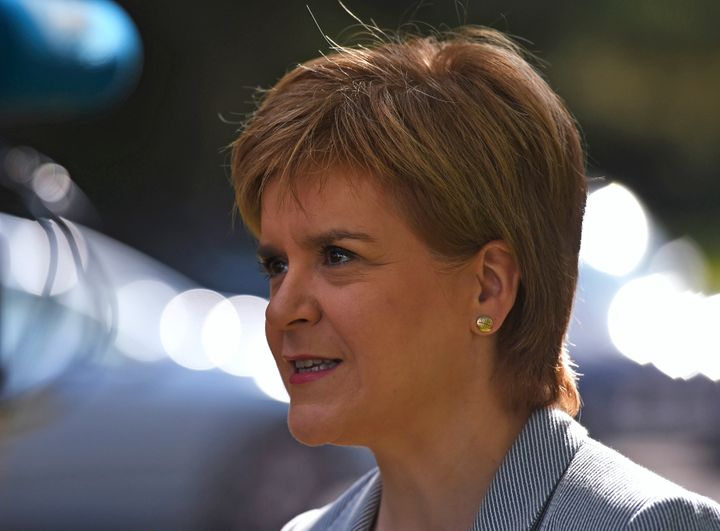 Scotland's First Minister Nicola Sturgeon leaves after voting in the EU referendum. Sturgeon has been one of the few leaders