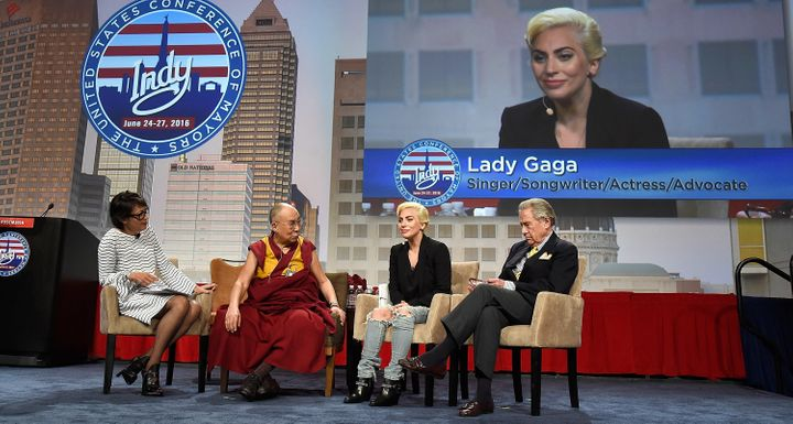 Lady Gaga joins his Holiness the Dalai Lama to speak to US Mayors about kindness at JW Marriott on June 26, 2016 in Indianapo