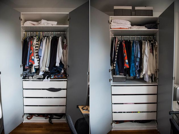 My closet before and after. Notice there's no pile of wrinkled clothing beneath the hanging items.Huggable...
