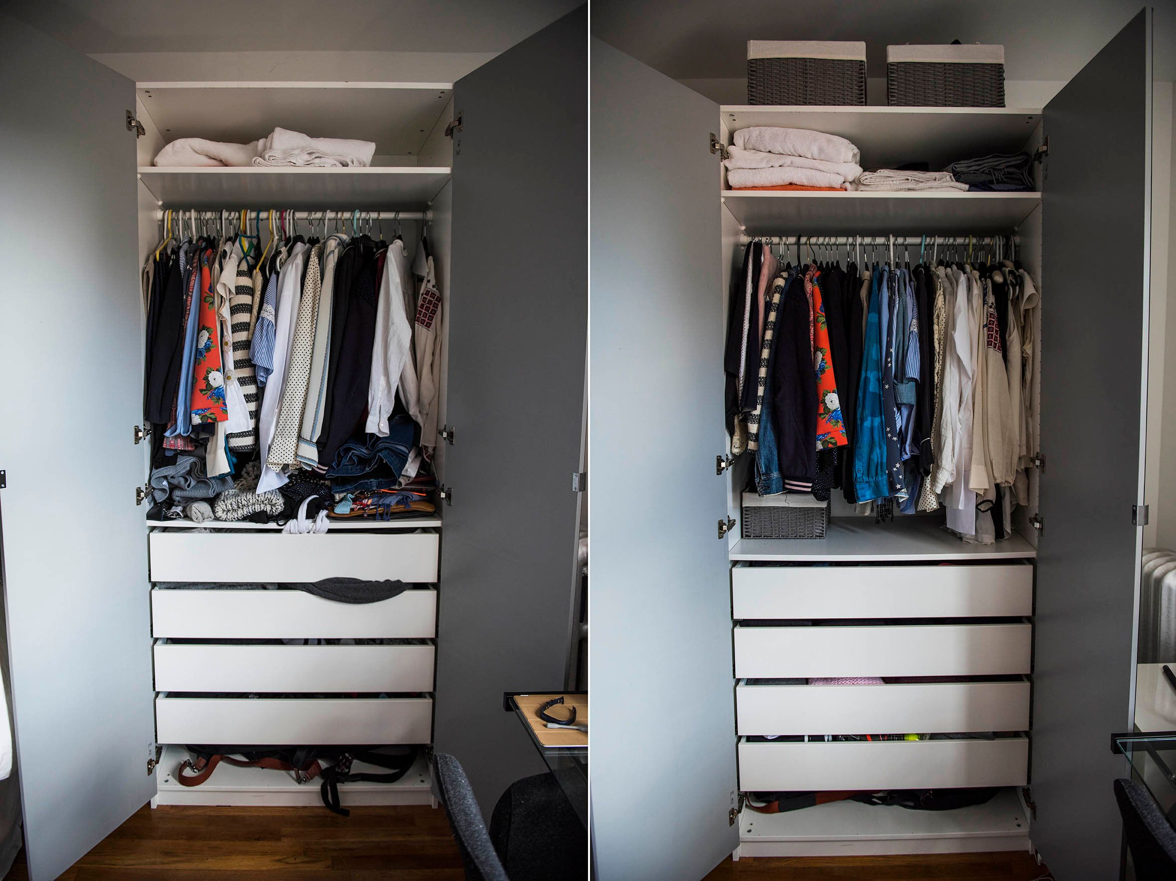My Closet Before And After. Notice Thereu0027s No Pile Of Wrinkled Clothing  Beneath The Hanging