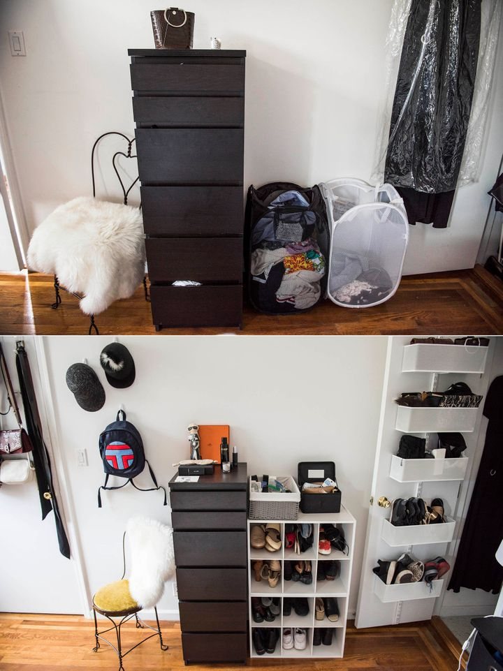 Looks slightly more sophisticated than having shoes&nbsp;in a pile on the floor.<br /><br />Container Store 6-Section Shoe &amp; Handbag Organizer, $39; White Elfa Utility Mesh Bathroom Door &amp; Wall Rack Solution, $126
