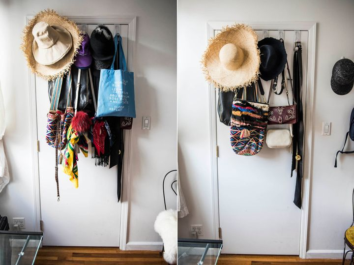 Over-the-door hooks are great, but mine were overflowing. We moved some of the items to other hooks on my wall and inside my closet.