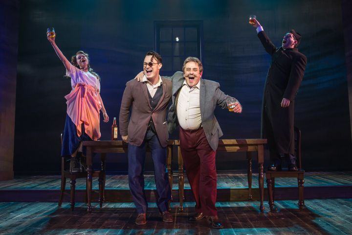 """Lianne Marie Dobbs, Matt Bogart, Michael McCormick and Zachary Prince in a raucous scene from """"Himself and Nora."""""""