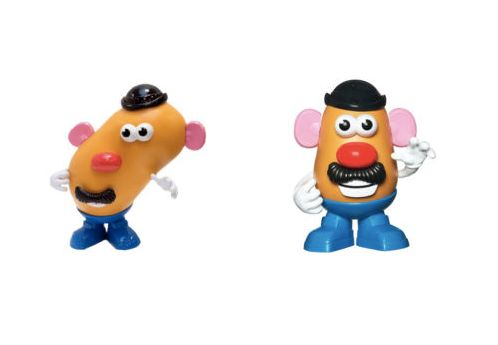 """Wonky Mr Potato Head"" on the left, and traditional ""Mr Potato Head"" on the right."