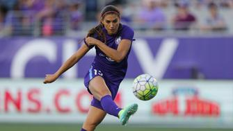 ORLANDO, FL - APRIL 23: Alex Morgan #13 of Orlando Pride kicks the ball during a NWSL soccer match against the Houston Dash at the Orlando Citrus Bowl on April 23, 2016 in Orlando, Florida. (Photo by Alex Menendez/Getty Images)