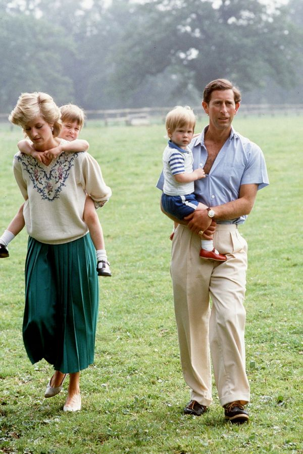 With Prince Charles, Prince William and Prince Harry.