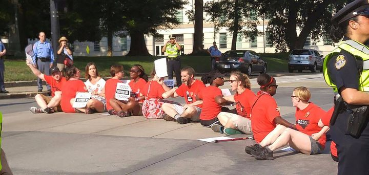 North Carolina teachers protesting outside of Governor's office.