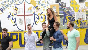 """THE BACHELORETTE - """"Episode 1206"""" - JoJo and the eight remaining men move on to the beauty and history of Argentina's exciting capitol, Buenos Aires. The Bachelorette hopes to get things back on track this week and make progress with some relationships, but for the first time in franchise history, there will be a second two-on-one date. Wells takes a romantic walk through the city with JoJo and they have the opportunity to participate in a performance art piece, """"Fuerza Bruta,"""" which will hopefully ignite their passion. JoJo escorts five men for a day of fun in the La Boca neighborhood of the capitol, but it ends with tempers flaring as the competition intensifies. Chase and Derek, two of JoJo's favorite bachelors, are the unlucky guys going on the two-on-one date. The guys aren't the only ones who are anxious. JoJo stuns the remaining men by suddenly leaving the rose ceremony, on """"The Bachelorette,"""" MONDAY, JUNE 27 (8:00-10:01p.m. EDT), on the ABC Television Network. (ABC/Veronica Gambini)ALEX, JAMES T., LUKE , JOJO FLETCHER, JORDAN, ROBBY"""