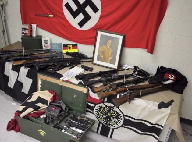 Weapons and other items police say were seized from the home of 29-year-old suspected neo-Nazi Edward