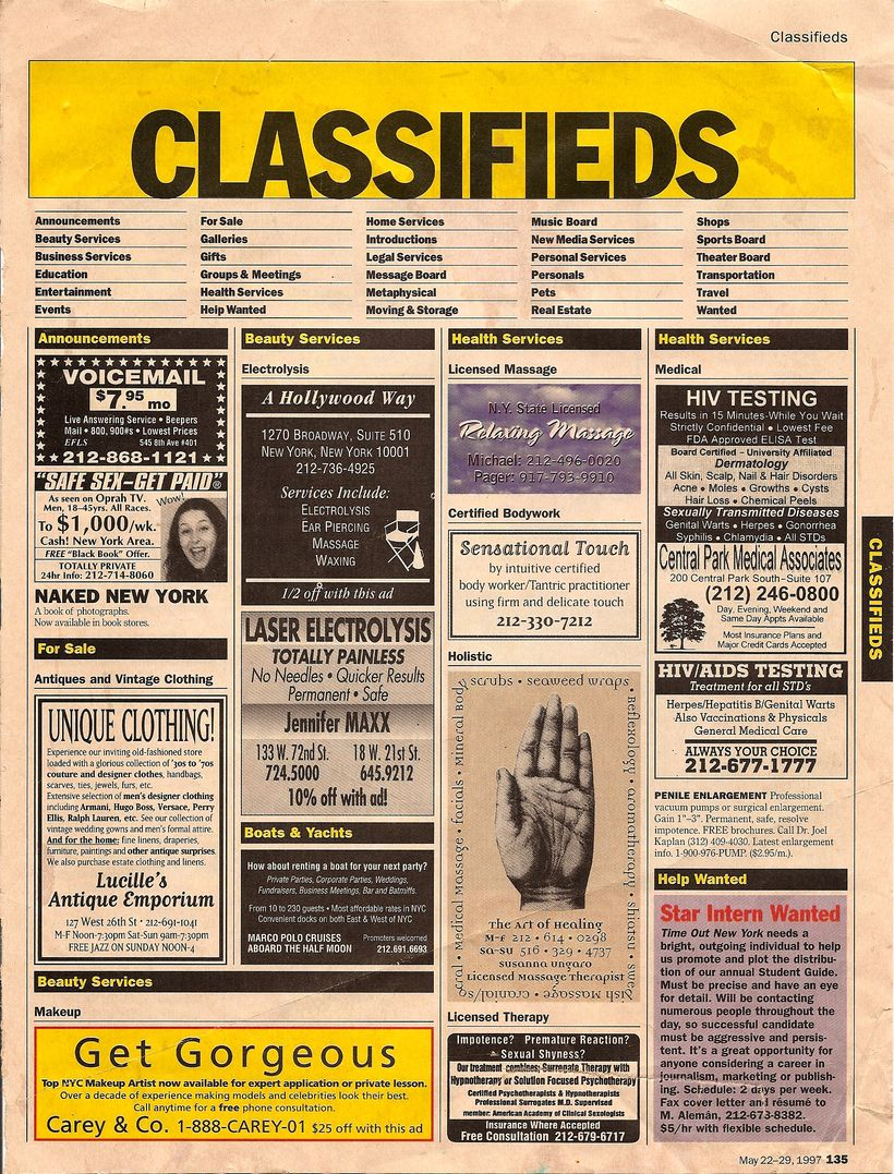 Newspaper classified advertisements have reduced in popularity due to the arrival of online classified advertising - image cr