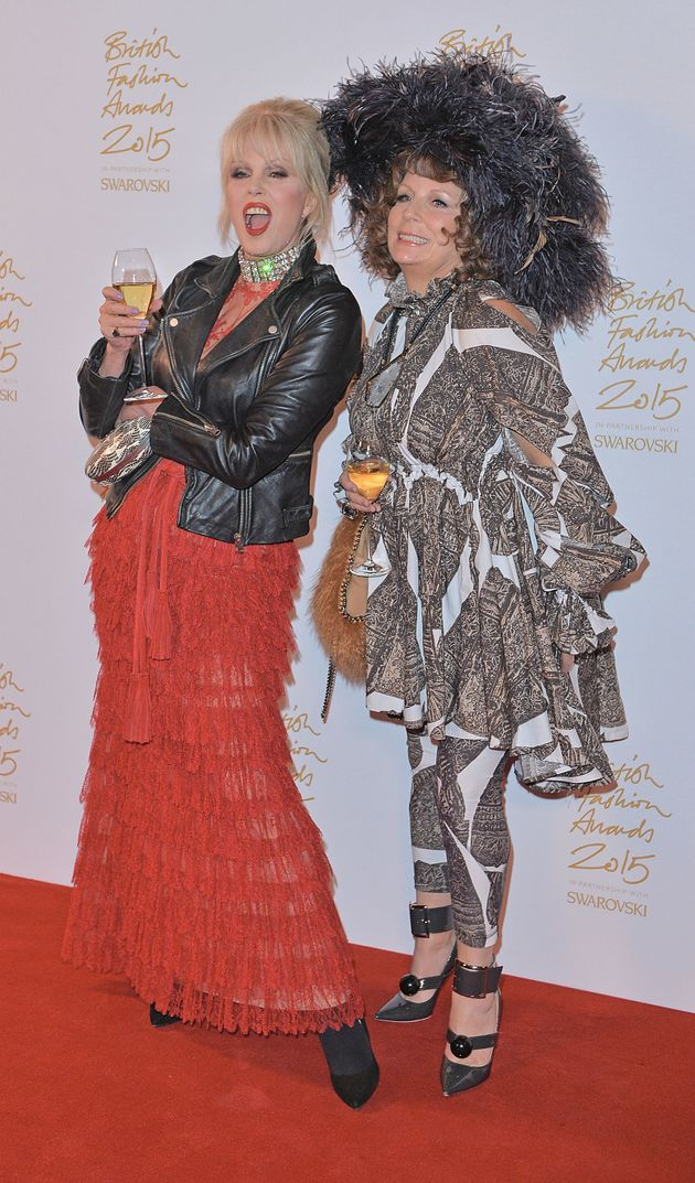 Joanna Lumley and Jennifer Saunders in character at last year's British Fashion