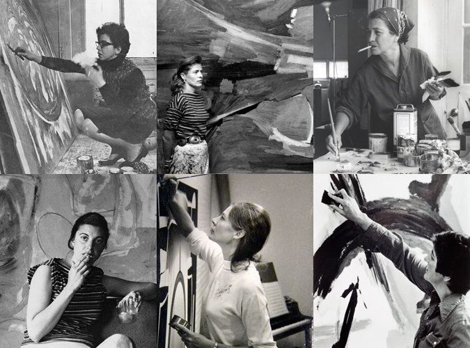 Clockwise from top left: Sonia Gechtoff in studio ca. 1961-62 (Image courtesy Sonia Gechtoff), Mary Abbott in studi