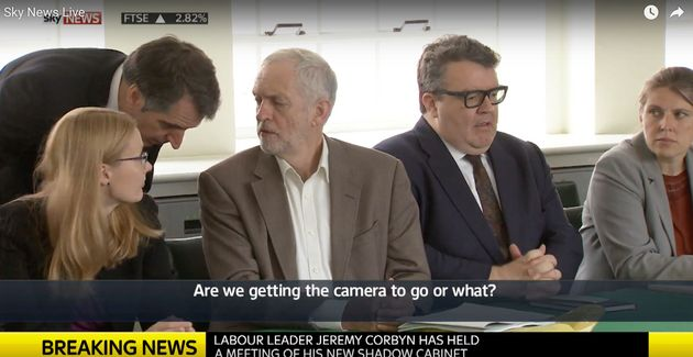 Jeremy Corbyn's Pain At TV Cameras Filming His First Shadow Cabinet