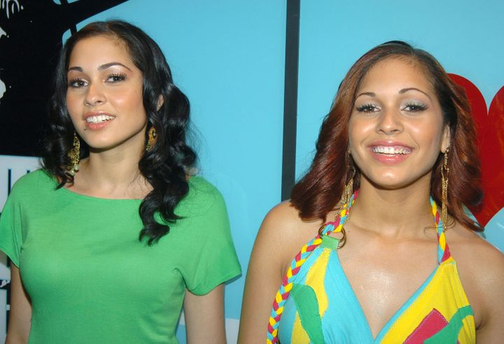 Nina Sky visits MTV's 'TRL' on July 14, 2004 at MTV Studios, Times Square in New York City.