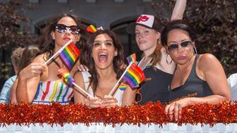NEW YORK, NY - JUNE 26:  (L-R) Actresses Elizabeth Rodriguez, Laura Gomez, Emma Myles and Selenis Leyva attend the 2016 Pride March on June 26, 2016 in New York City.  (Photo by Michael Stewart/Getty Images)