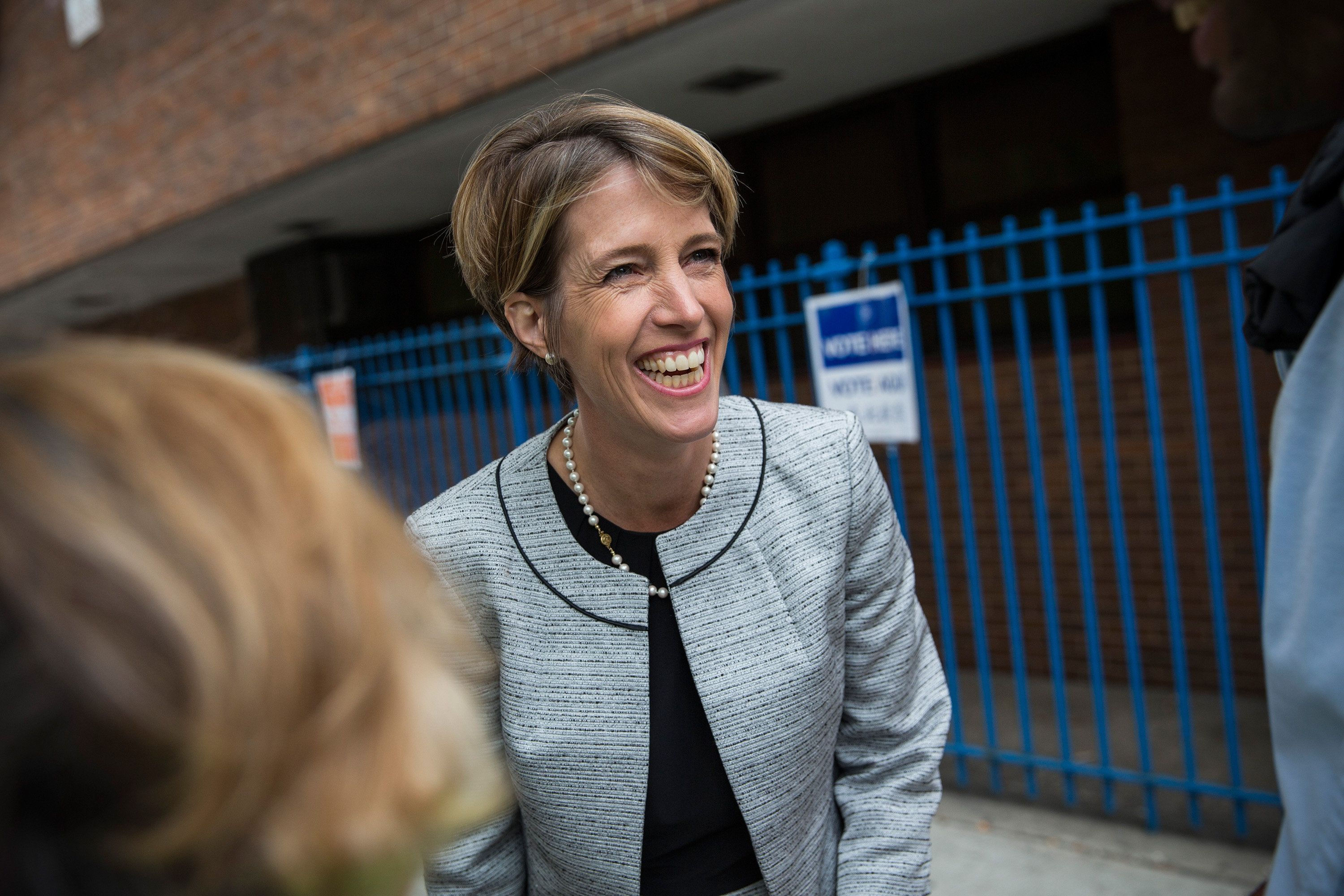 NEW YORK, NY - SEPTEMBER 09:  Zephyr Teachout, a democratic primary challenger to New York Governor Andrew Cuomo, greets voters outside a voting station at Public School 153 on September 9, 2014 in New York City. Teachout has gained unexpected traction in the primary season, campaigning on ending corruption in the state capital of Albany.  (Photo by Andrew Burton/Getty Images)