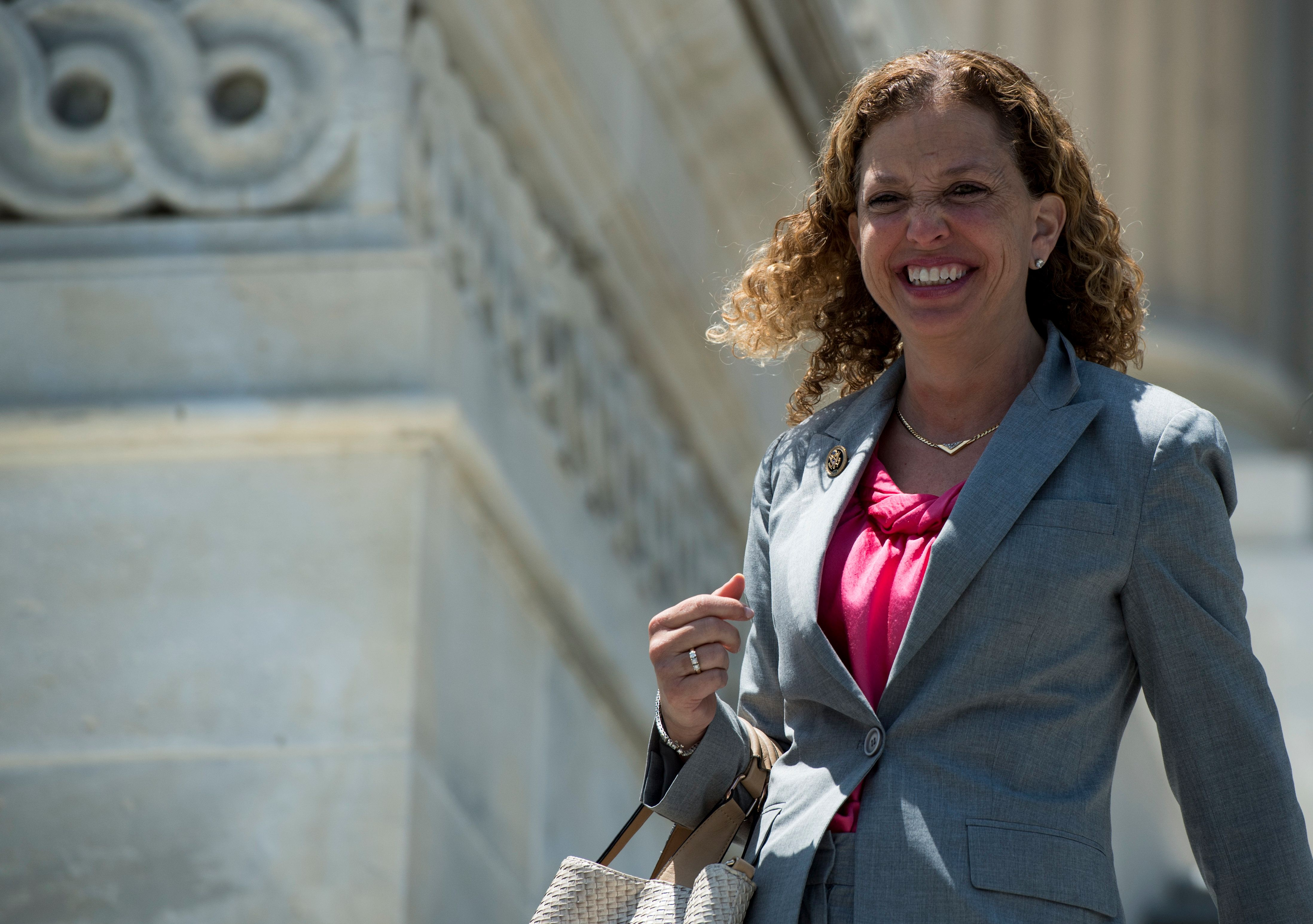 UNITED STATES - JUNE 10: Rep. Debbie Wasserman Schultz, D-Fla., walks down the House steps at the Capitol following the final votes of the week in Congress on Friday, June 10, 2016.  (Photo By Bill Clark/CQ Roll Call)
