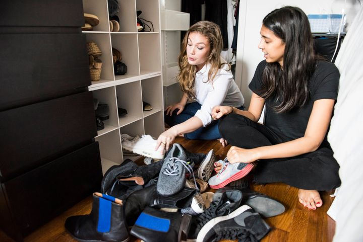Haya Kramer (L) and I (R) organizing my shoe collection.