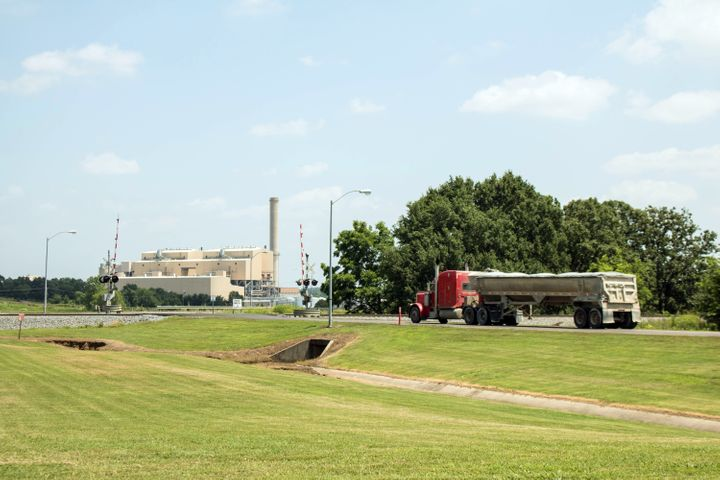 A tractor-trailer enters the main entrance of the AES Shady Point coal-fired generation plant near Panama, Oklahoma.