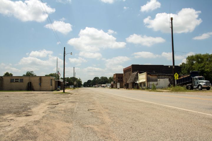 A street view of Bokoshe, Oklahoma, a small town with about 500 residents.