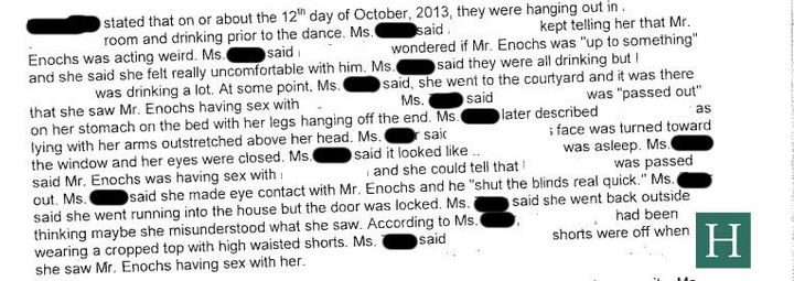 An excerpt from the probable cause affidavit about what a witness saw on Oct. 12, 2013.