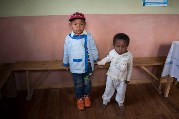 Miranto (left) and Sitraka were born on the same day in the same Madagascar village, but Sitraka...