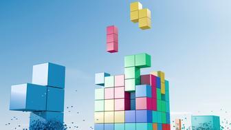 Multi coloured elements building a cube, like a 3d puzzle.