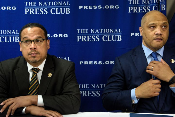 Reps. Keith Ellison and Andre Carson, the two Muslim members of Congress, were accused by a witness at a Senate hearing