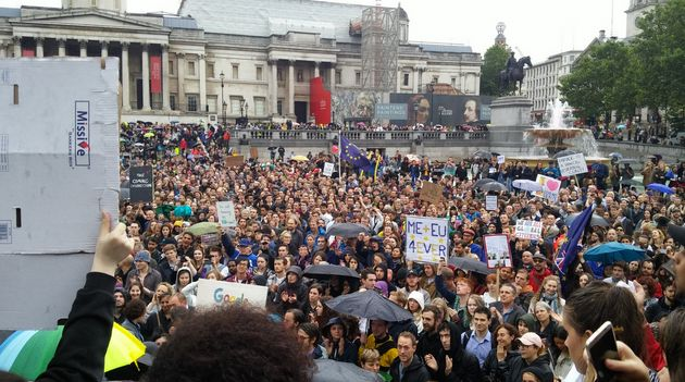 Thousands of people turned up at London's Trafalgar Square for a pro-EU rally on Tuesday despite organisers...