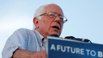 Democratic U.S. presidential candidate Bernie Sanders speaks during a campaign rally in Cloverdale, California, U.S. June 3, 2016. REUTERS/Stephen Lam
