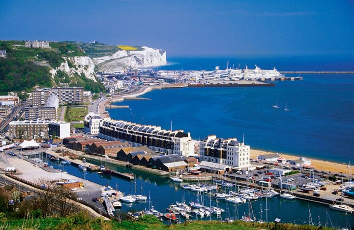 An aerial view of boats docked at harbor in Dover, England.