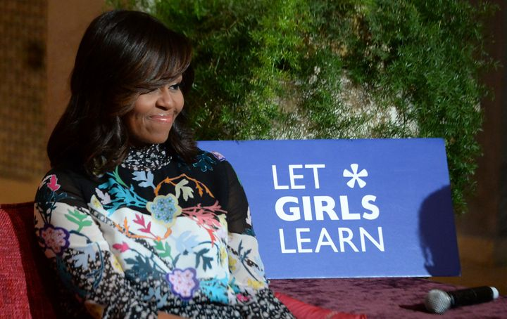 US first lady Michelle Obama smiles as she meets Moroccan young women following the 'Let Girls Learn' Program on June 28, 201
