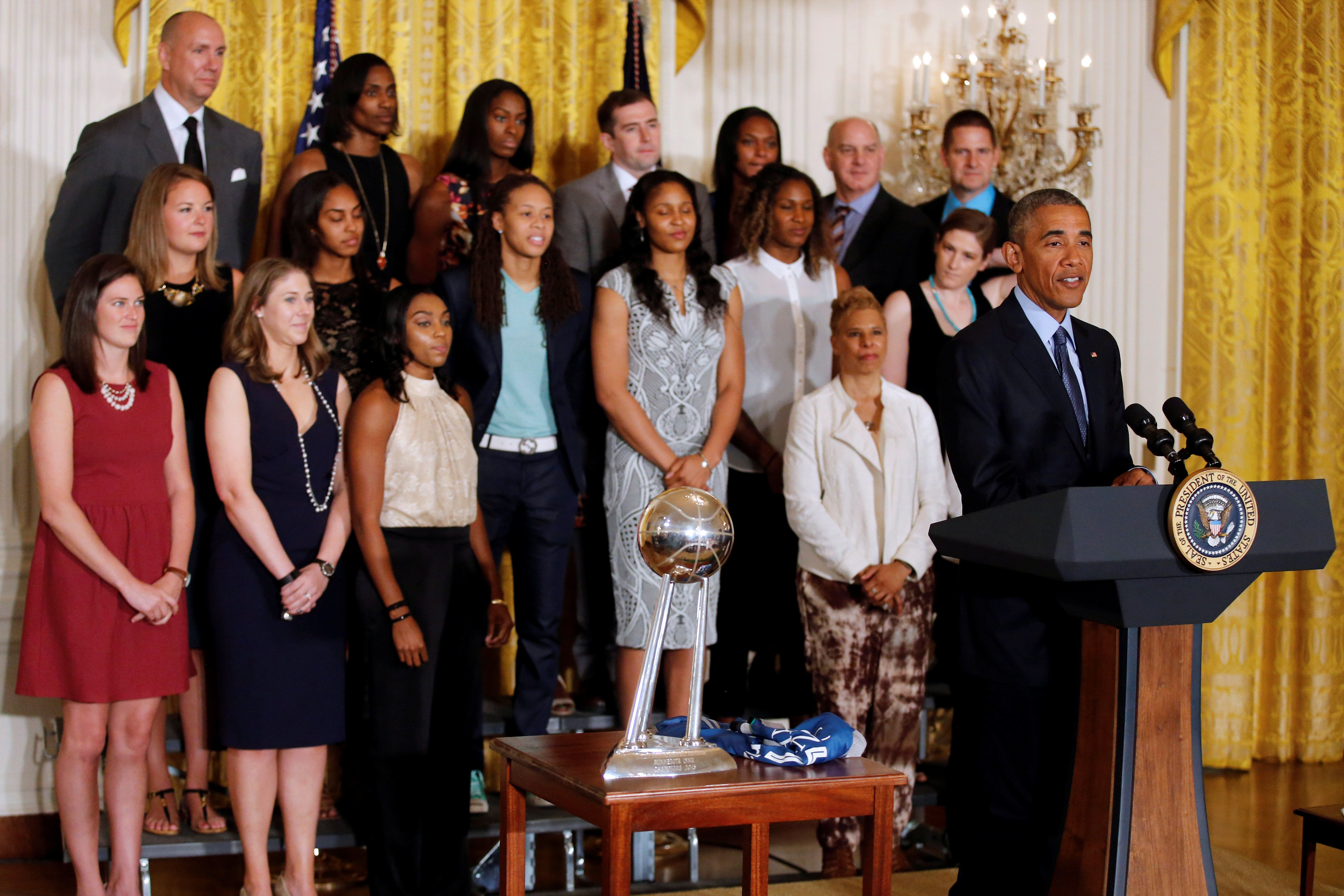 U.S. President Barack Obama attends an event to honor the 2015 WNBA Champions Minnesota Lynx basketball team at the East Room of the White House in Washington, U.S., June 27, 2016. REUTERS/Carlos Barria