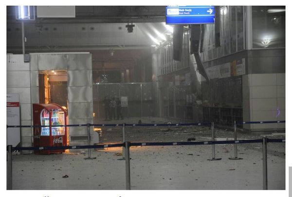 <i>A view of the airport's entrance, where suicide bombers opened fire before blowing themselves up.</i>