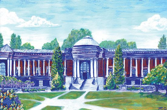 Art student Maddy Corbin used the new shade of blue to paint a picture of the Oregon State University Memorial Union building