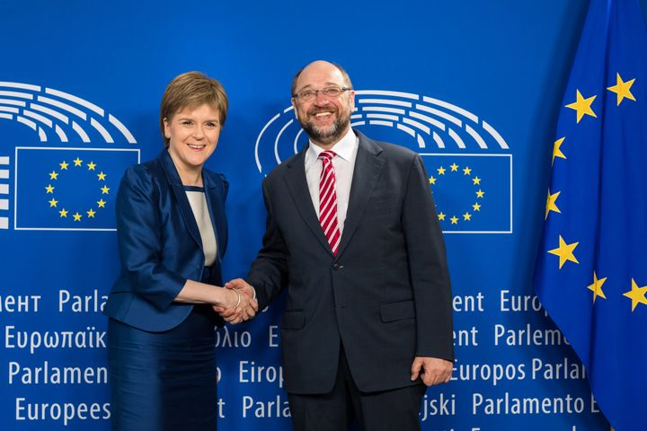 """European Parliament President Martin Schultz, right, says he has """"listened and learned"""" from his meeting Wednesday with"""