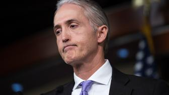 UNITED STATES - JUNE 28: Rep. Trey Gowdy, R-S.C., chairman of the Select Committee on Benghazi, conducts a news conference in the Capitol Visitor Center, June 28, 2016, to announce the Committee's report on the 2012 attacks in Libya that killed four Americans. (Photo By Tom Williams/CQ Roll Call)