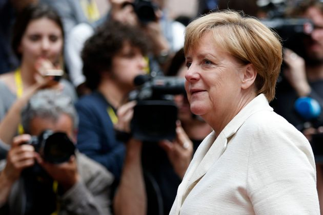 German Chancellor Angela Merkel arrives at the EU Summit in Brussels, Belgium, June 28,