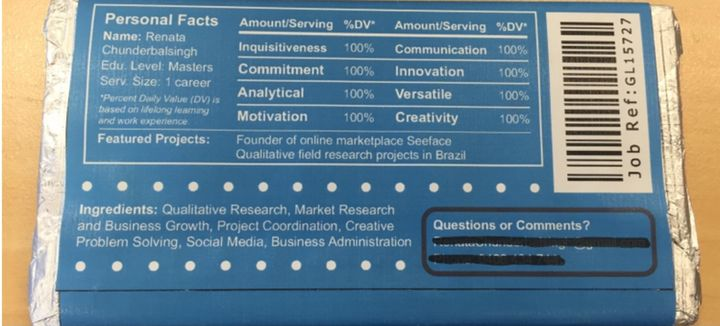 ingenious job applicant puts her resume on a chocolate bar huffpost