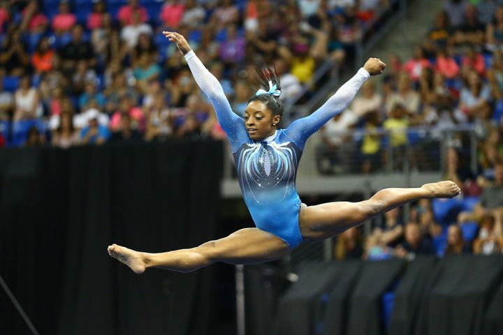 Simone Biles competes in the floor exercise during day two of the 2016 P&G Gymnastics Championships at Chafitz Arena.&nbs