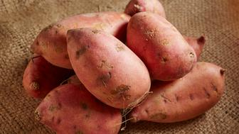 Fresh, raw sweet potatoes