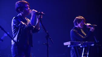 PALM SPRINGS, CA - APRIL 05:  (L) Tegan Quin and Sara Quin of Tegan and Sara perform at The Black Party for Club Skirts Dinah Shore Weekend at Palm Springs Convention Center on April 5, 2014 in Palm Springs, California.  (Photo by Beck Starr/WireImage)